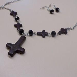 Jewelry - NWOT Black  inverted cross necklace & earring set